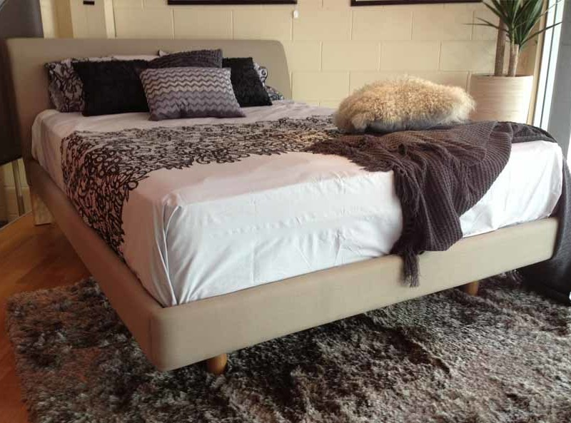 dallas queen sized upholstered bed head bedside tables
