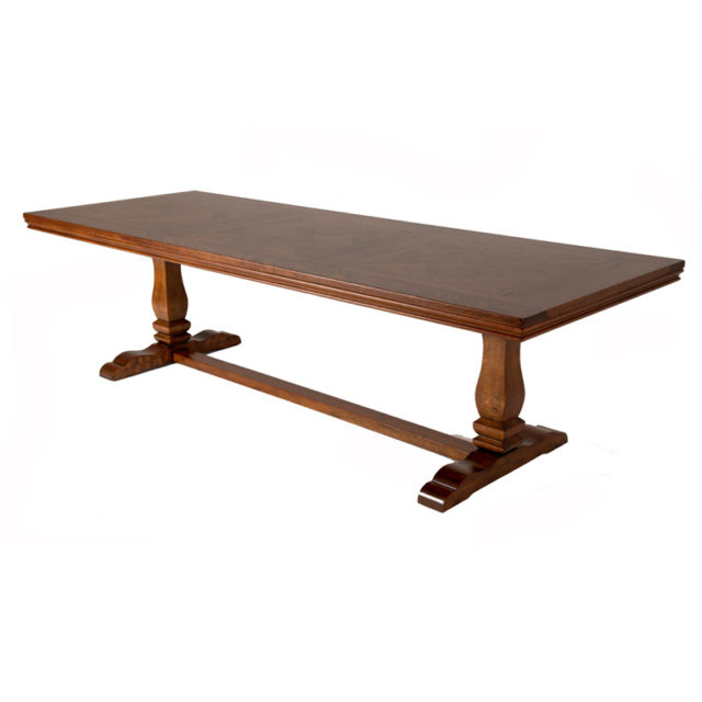 T372 Provence timber table parquettry top montpelier base American Oak 2780 x 1070