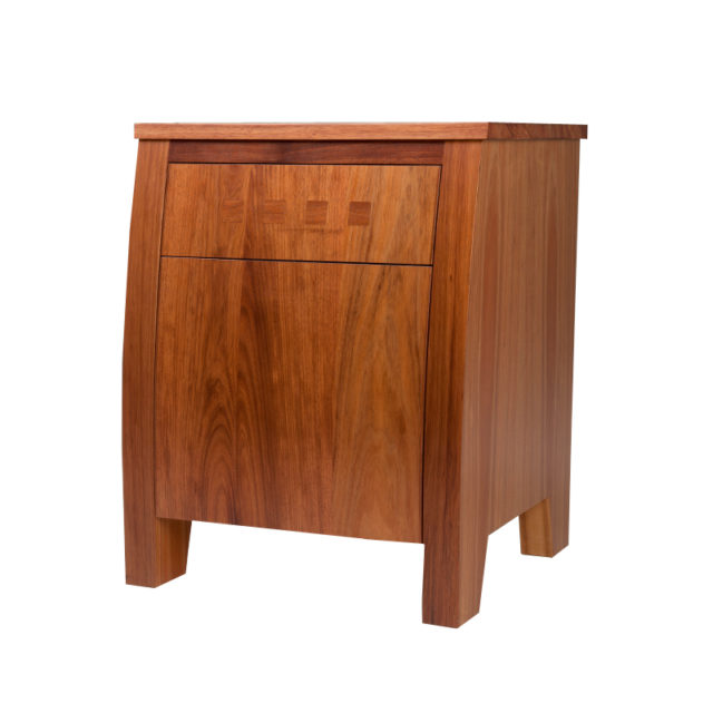 Chess Curved Bedside with tip on drawer & Flap door Blackwood timber