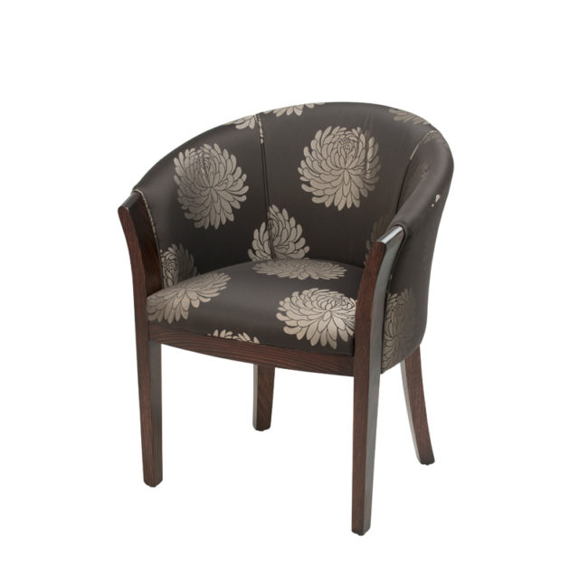Tub chair suitable for dining or occasional sitting, office, or reception chair.