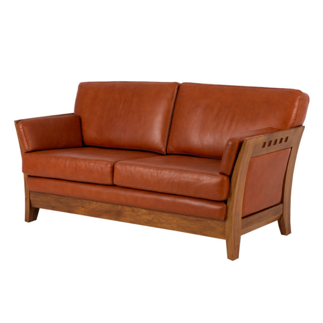 Leather and timber lounge sofa
