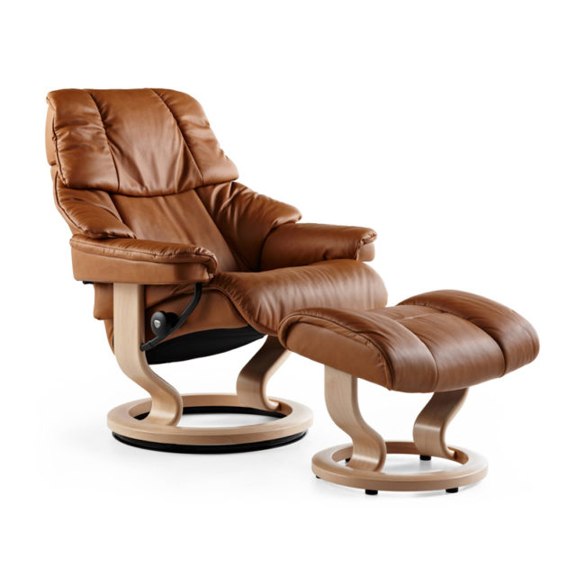 The Reno Stressless Recliner With Solid Wood Classic Base