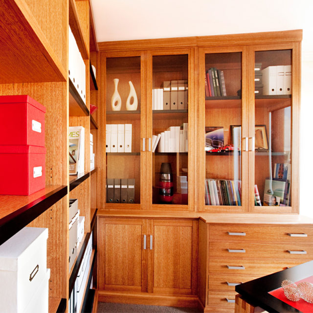 Custom made timber wall unit and cabinet