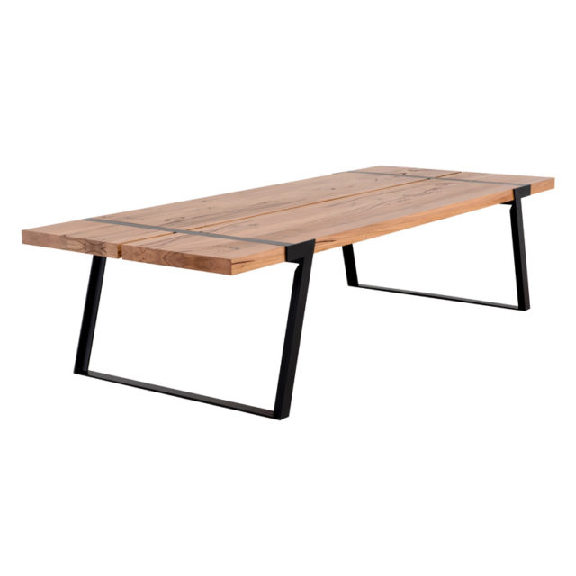 Sven Dining table indoor outdoor - 3.0 x 1.2m Black Stainless steel base with Feature Eucalypt timber