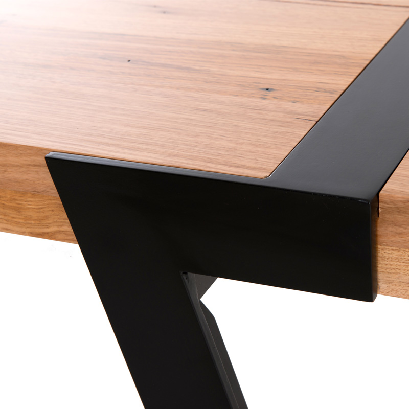 Solid Timber Table With Steel Seven Base 3000 X 1200 Mm
