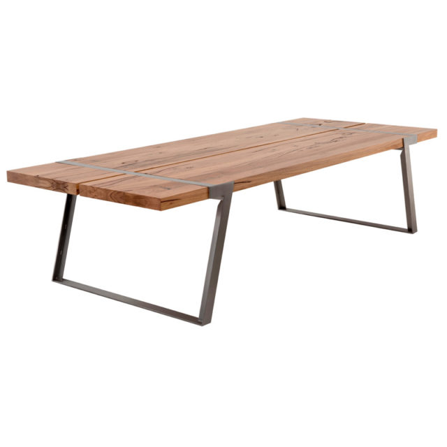 Sven Dining table indoor outdoor - 3.0 x 1.2m Stainless steel Brushed base with Feature Eucalypt timber