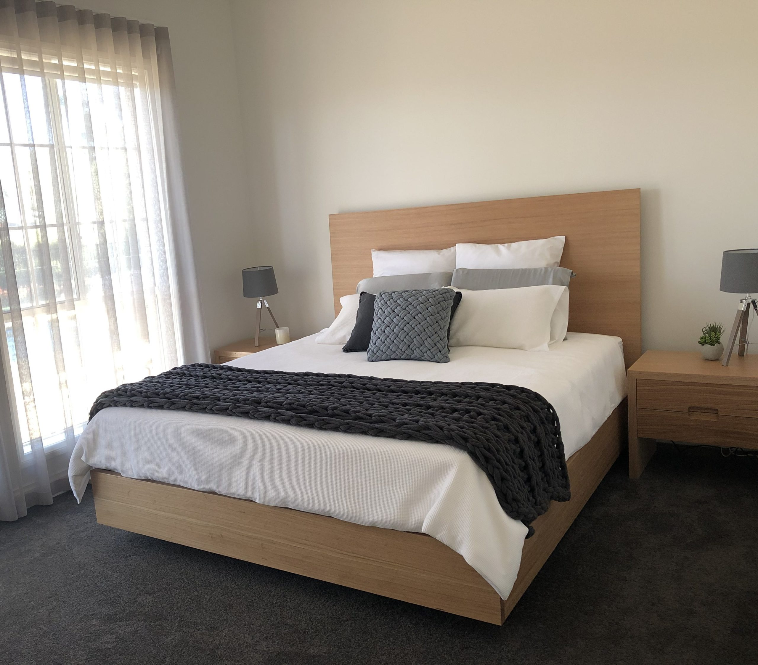 Hove King size bed timber head board in Tasmanian Messmate.