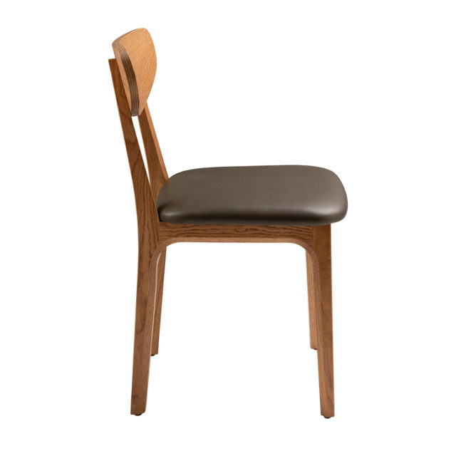 Dan chair side view - USA oak - Upholstered seat