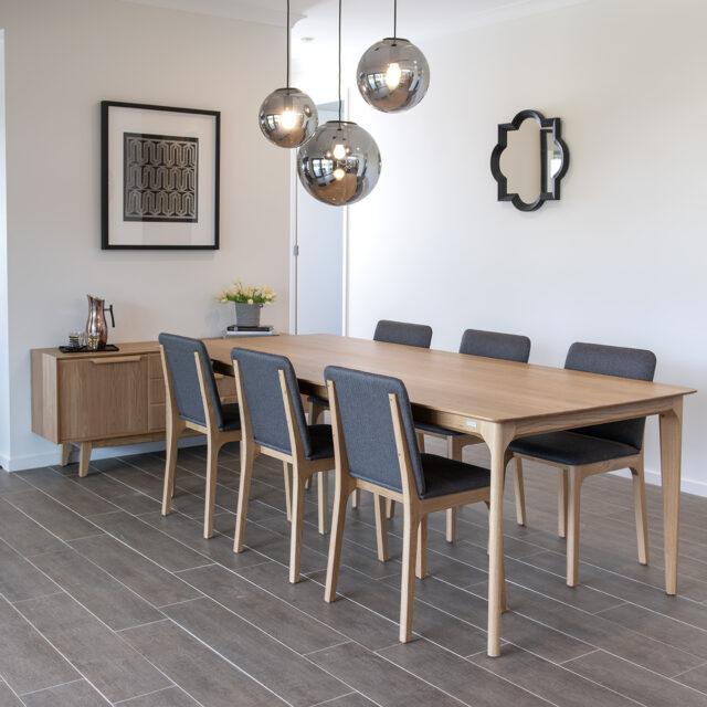Dan T411_Dining table & C141 Chairs_USA oak_2 Pack Matt finish_2.40m_Dan CSB413 Sideboard