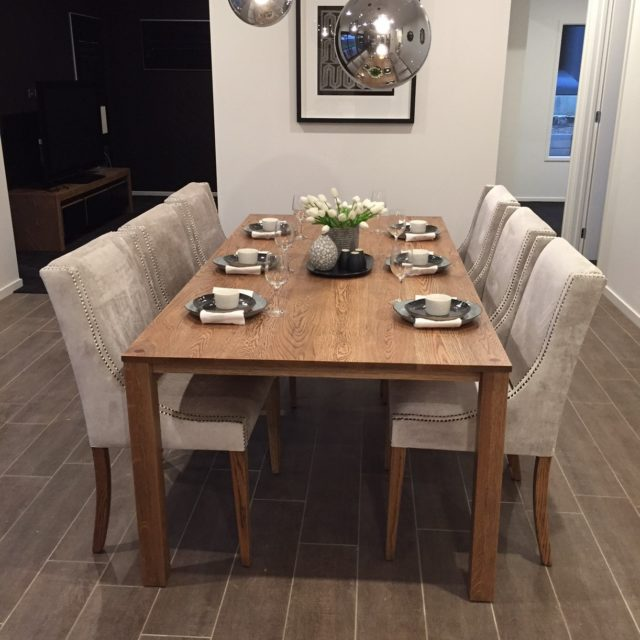 Table and chairs Solid timber black wash