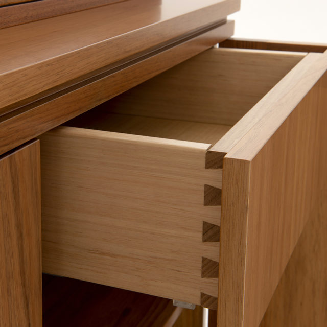 Timber drawers with dovetail joints and Blum Soft close undermounted runners