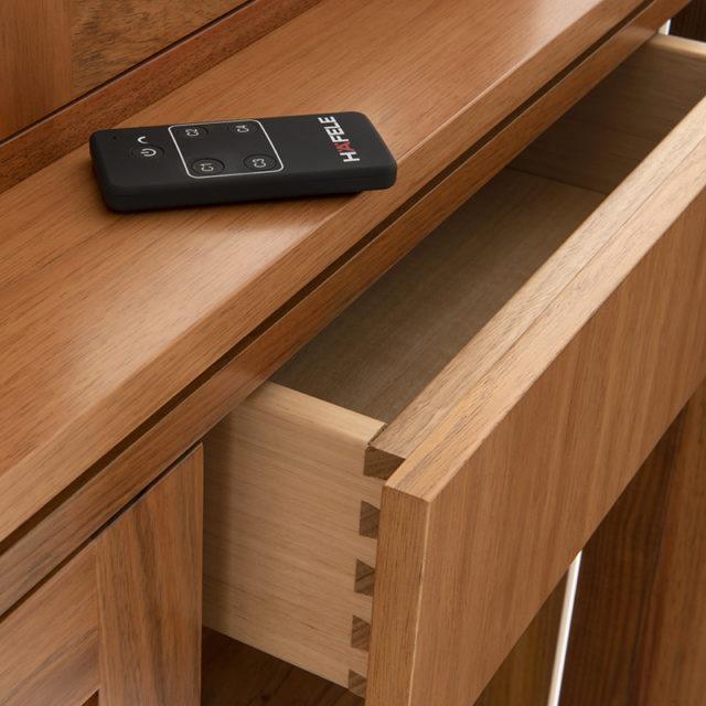 Hafele downlight remote control Neo glass display dresser_Blackwood