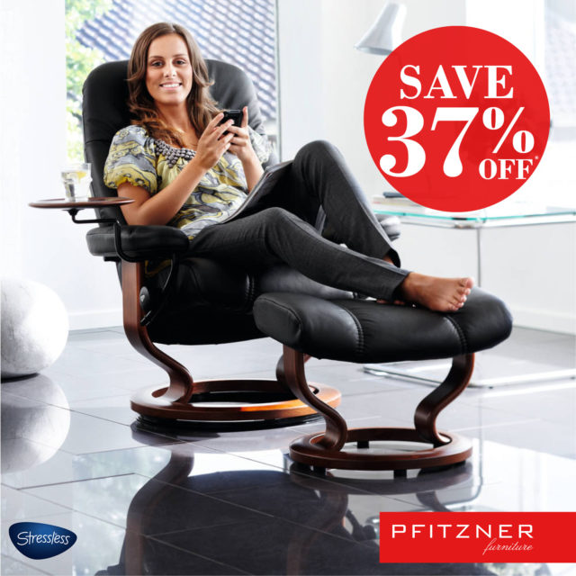 Stressless medium and Large Consul recliner and footstool Save 37%