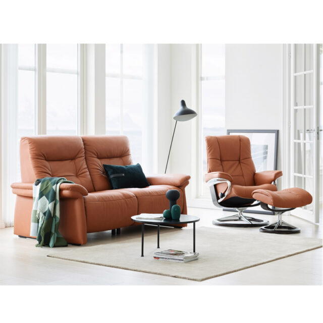 Stressless Mary Power 2 seater with Mayfair Recliner Signature base Paloma Copper leather