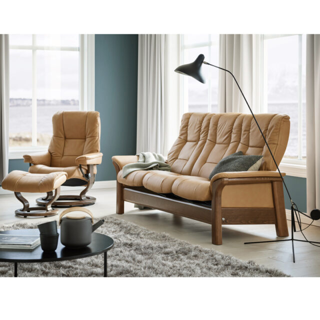 Stressless Windsor High Back with Mayfair Classic base Paloma Taupe leather Walnut stain