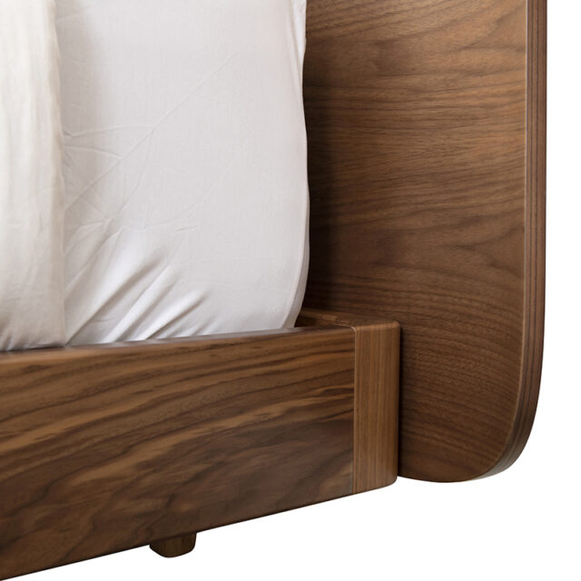 DAN Bed - Curved head King size made in Walnut timber with floating bed frame