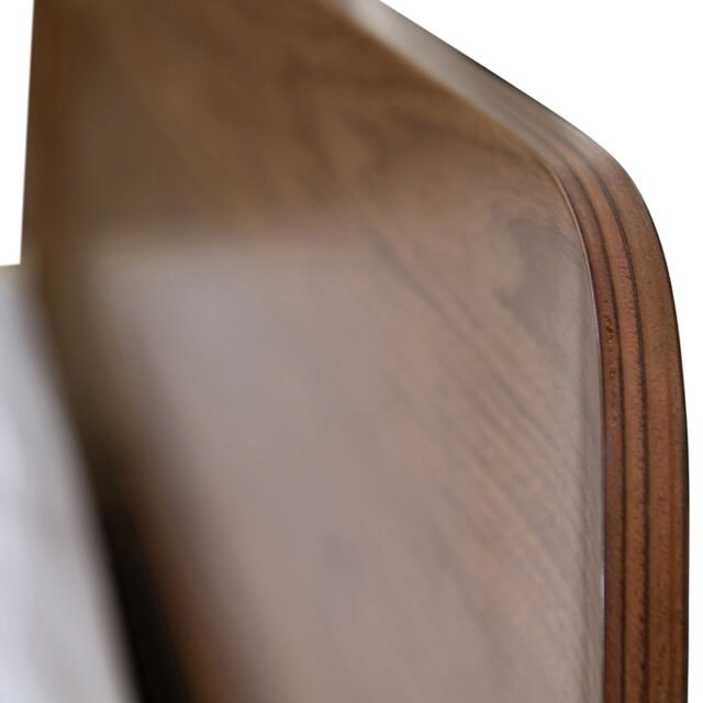 DAN Bed - Curved head King size made in Laminated Walnut timber with floating bed frame