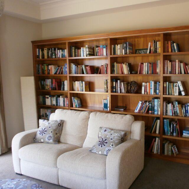 Blackwood timber bookshelves