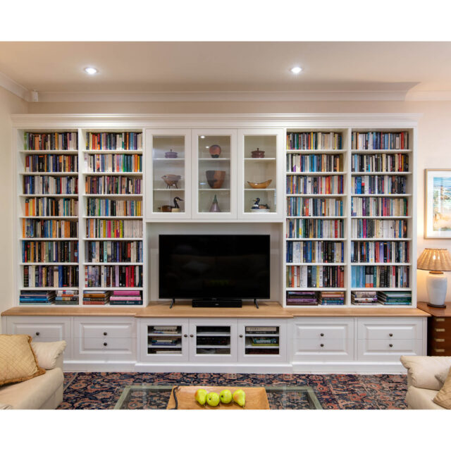 Built-in Book shelf and Entertainment cabinet-painted White oak